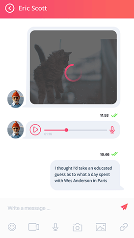 tinder clone app - chat screen