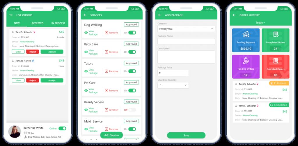 Fox-Jek provider App Mockup