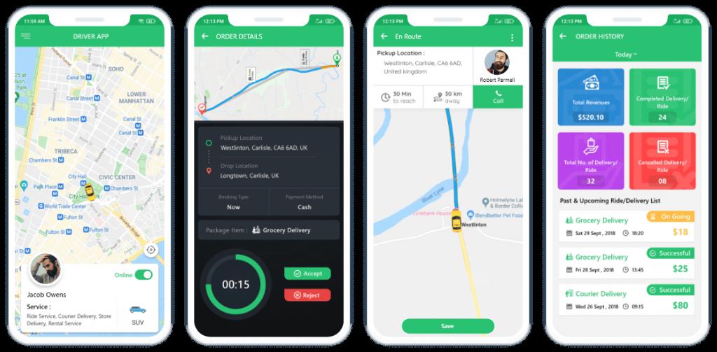 Fox-Jek driver App Mockup